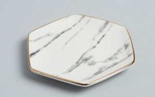 Pier 1 Ceramic Dish (Made with timeless marble design and golden trim)